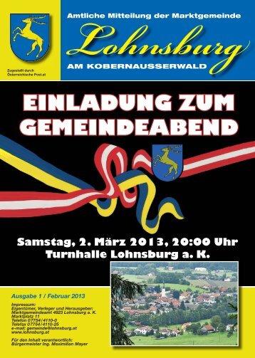 einladung zum gemeindeabend - Marktgemeinde Lohnsburg am ...
