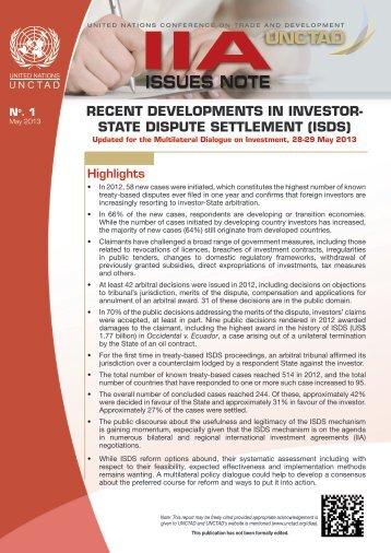 Recent Developments in Investor-State Dispute Settlement - Unctad