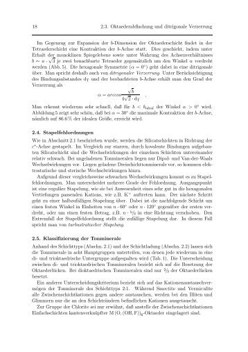 2.4. Stapelfehlordnungen 2.5. Klassifizierung der Tonminerale 2.6 ...