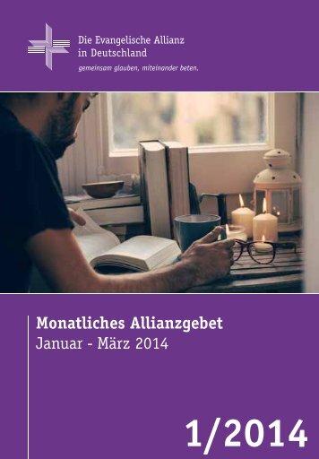 Gebetsheft 1. Quartal 2014 - Deutsche Evangelische Allianz