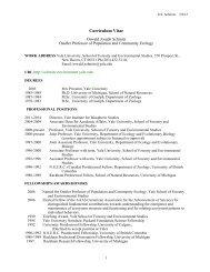 CV - Download - Yale School of Forestry & Environmental Studies