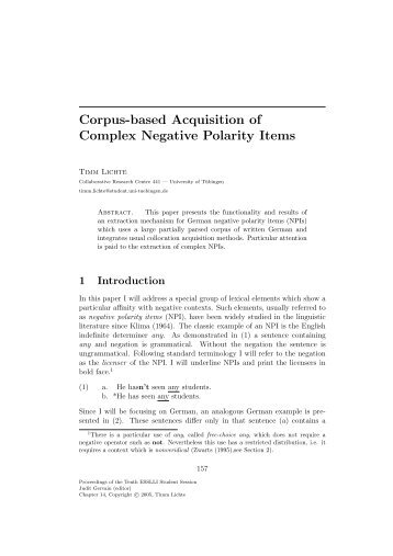 Corpus-based Acquisition of Complex Negative Polarity Items