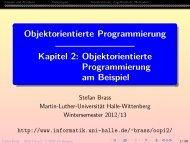Objektorientierte Programmierung, Kapitel 2: OOP am Beispiel