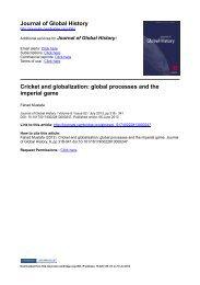 Journal of Global History Cricket and globalization - UW-Madison ...