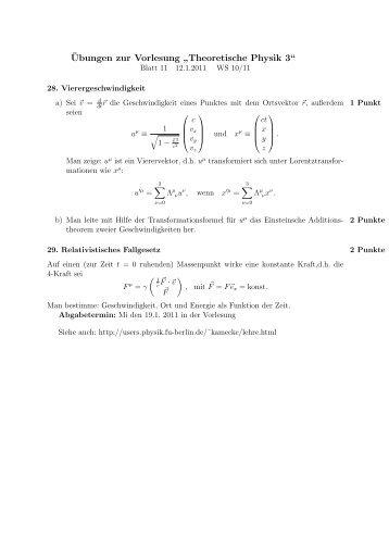 """Übungen zur Vorlesung """" Theoretische Physik 3"""""""