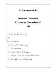 Duquesne University Pittsburgh I - Verwaltung - Universität zu Köln