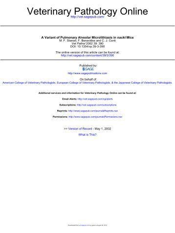 A Variant of Pulmonary Alveolar Microlithiasis in nackt Mice