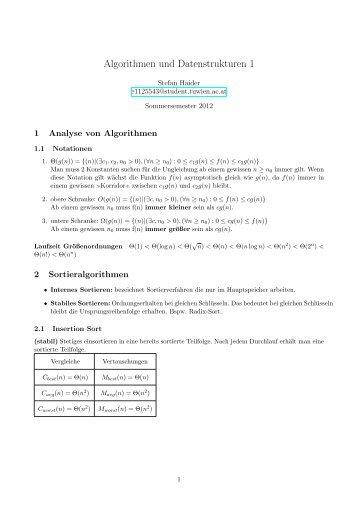 Algorithmen und Datenstrukturen 1 - VoWi