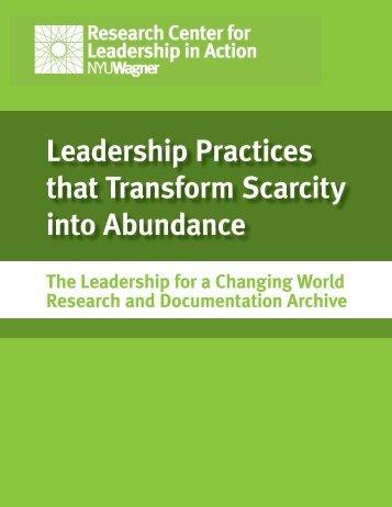 Leadership Practices that Transform Scarcity into Abundance
