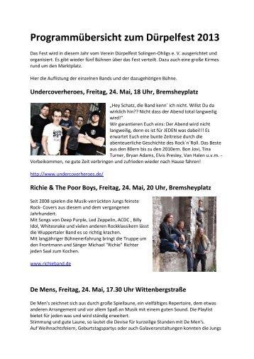Programmübersicht zum Dürpelfest 2013