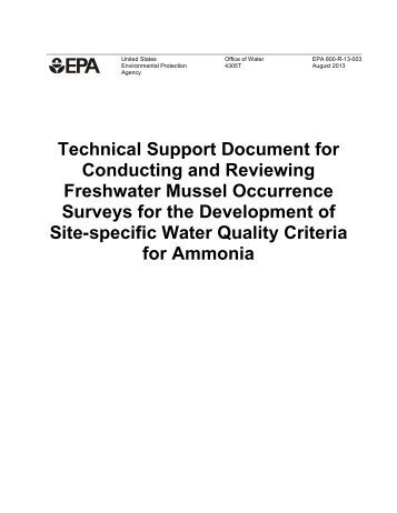 Technical Support Document for Conducting and Reviewing ... - Water