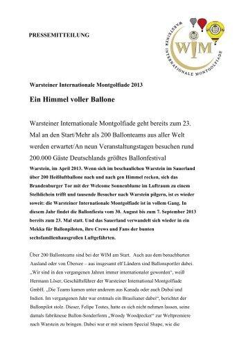 PM_WIM 2013_Vorankuendigung.pdf - Warsteiner Gruppe