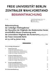 Wahlergebnisse - Freie Universität Berlin
