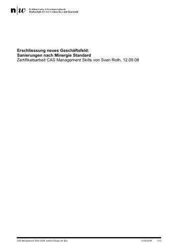Erschliessung neues Geschäftsfeld: Sanierungen nach Minergie ...