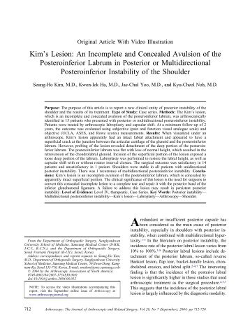 Kim's Lesion: An Incomplete and Concealed Avulsion of the ...