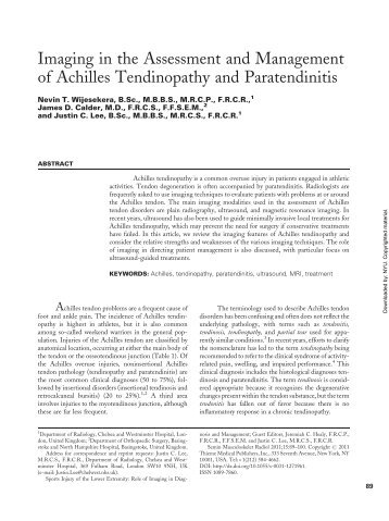 Imaging in the Assessment and Management of Achilles ...