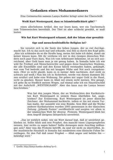 Gedanken eines Mohammedaners - Welcker-online.de