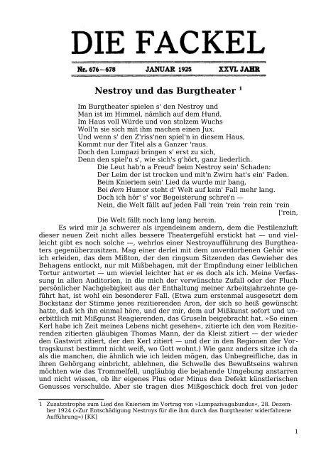 Nestroy und das Burgtheater 1 - Welcker-online.de