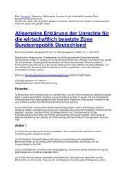 Allgemeine Erklärung der Unrechte für die wirtschaftlich besetzte ...