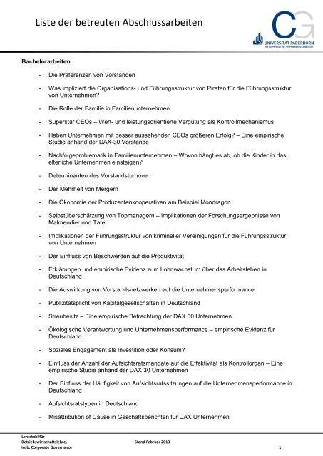 Liste der betreuten Abschlussarbeiten - WiWi