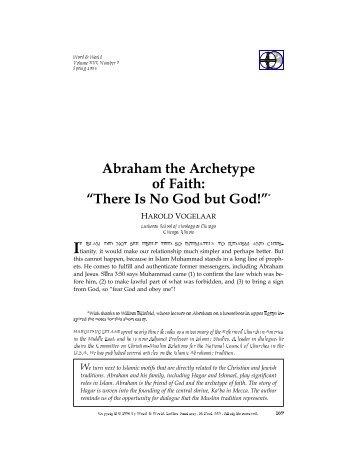 """Abraham the Archetype of Faith: """"There Is No God but God!""""*"""