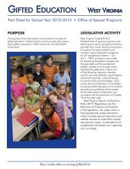 Gifted Education Fact Sheet for 2012-2013 - West Virginia ...