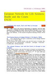European Network for Life Sciences, Health and the Courts ENLSC