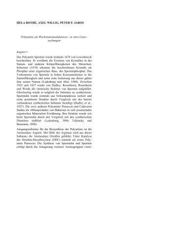 4 .Polyamine als Wachstumsmodulatoren- in vitro Untersuchungen