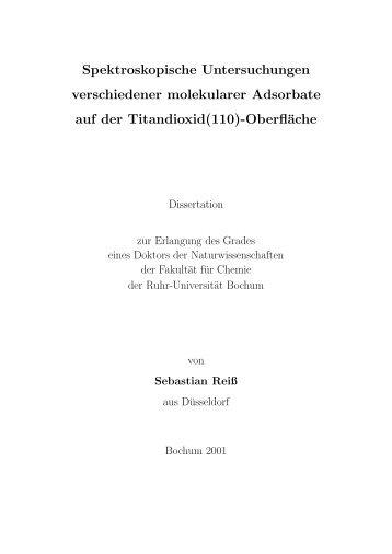 Spektroskopische Untersuchungen verschiedener molekularer ...