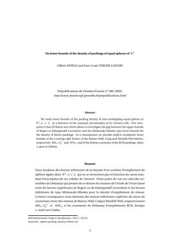 On lower bounds of the density of packings of equal ... - Institut Fourier