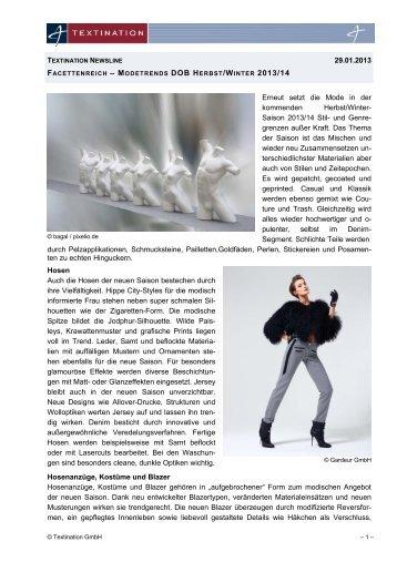 Modetrends DOB Herbst/Winter 2013/14 - Textination