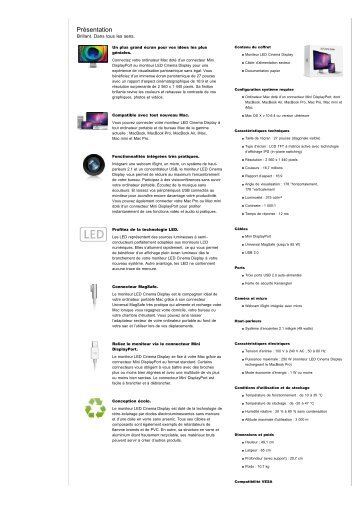 Moniteur Apple LED Cinema Display (écran plat de 27 ... - 1000 Ordi