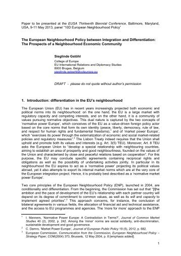 The European Neighbourhood Policy between Integration and ...