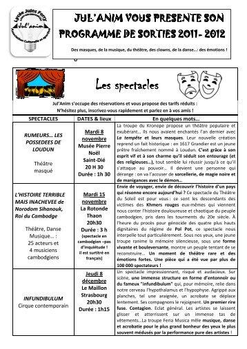 PROGRAMMATION JUL'ANIM 2011-2012 - Académie de Nancy-Metz
