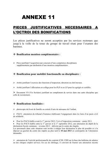 Liste des pièces justificatives à fournir - Académie de Nancy-Metz
