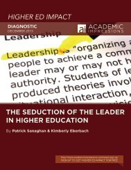 HIGHER ED IMPACT THE SEDUCTION OF THE LEADER IN ...