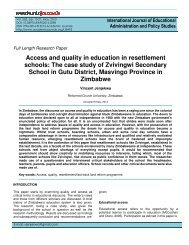 Access and quality in education in resettlement schools - Academic ...