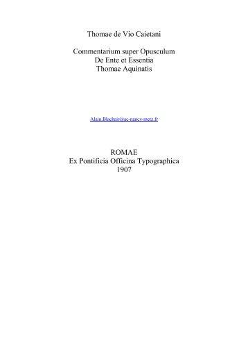 Sancti Thomae de Aquino - Académie de Nancy-Metz