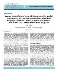 Vyama, Instutuions of hope: Ordinary people's market coordination ...