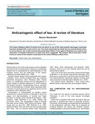 Anticariogenic effect of tea: A review of literature - Academic Journals