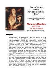 Maria aus Magdala, die Frau die Jesus liebte