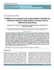 Inhibition of α-amylase and α-glucosidase activities by ethanolic ...