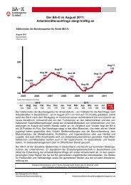 Der BA-X im August 2011: Arbeitskräftenachfrage steigt kräftig an