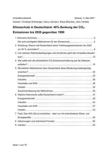 Klimaschutz in Deutschland: 40%-Senkung der CO2 ... - ACCC