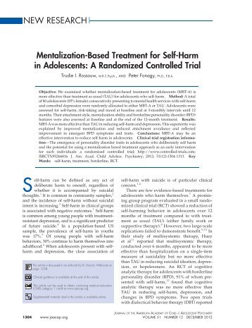 Mentalization-Based Treatment for Self-Harm in Adolescents