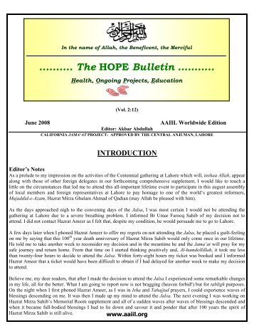 June 2008 - Ahmadiyya Anjuman Isha'at-e-Islam Lahore