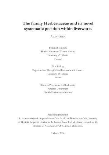 The family Herbertaceae and its novel systematic position within ...