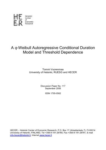 A q-Weibull Auroregressive Conditional Duration Model - E-thesis ...