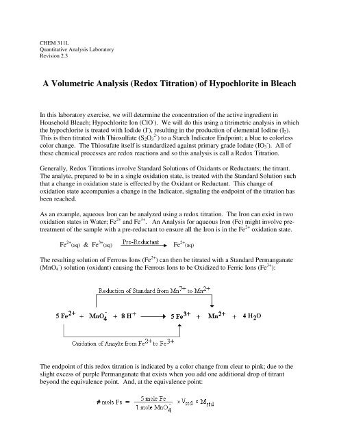 A Volumetric Analysis Redox Titration Of Hypochlorite In