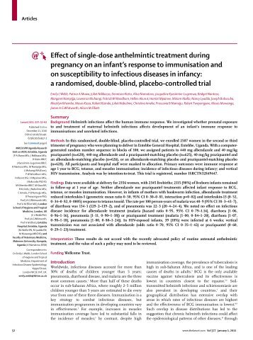 Effect of single-dose anthelmintic treatment during pregnancy on an ...